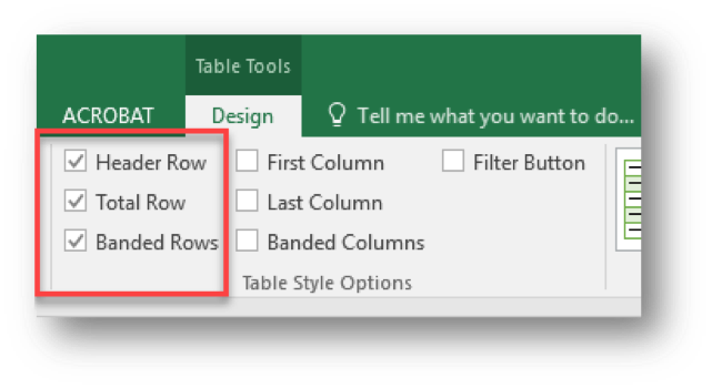excel header row